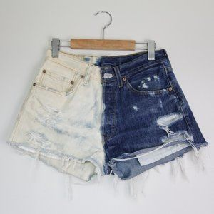 Levi's Cut Off Distressed Denim Blue Jean Shorts